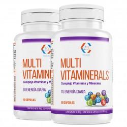 Complejo vitamínico con minerales | vitamina C| vitaminas B2, B3, B5, B6 y B12 y hierro | Multivitamínico para combatir el cansancio | la fatiga y aumentar el bienestar de tu cuerpo| Pack 2 -(90 cápsulas)