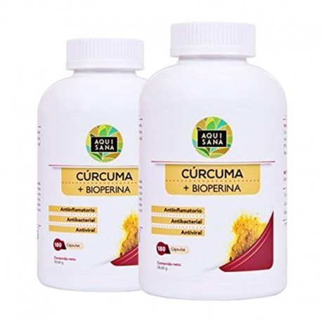Cúrcuma orgánica con Bioperina Aquisana 180 Cápsulas