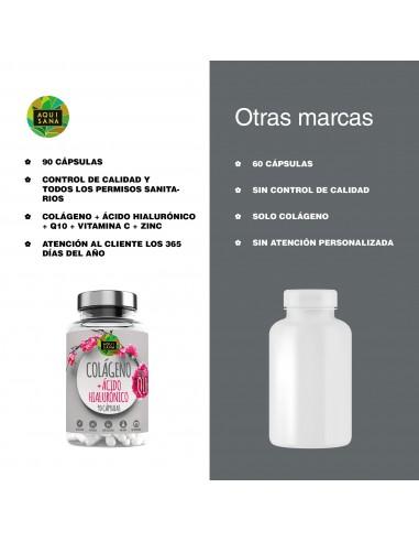 colágeno + Q10 + ácido hialurónico + Vitamina C |Piel Radiante | Efecto Antienvejecimiento |100% Natural | PACK 2 (180 Cápsulas)