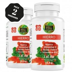 Hierro - Aquisana + Ácido Fólico | Suplemento Alimenticio con Vitamina C y Vitamina B12 | Mayor vitalidad |Libre de alérgenos- 60 Cápsulas